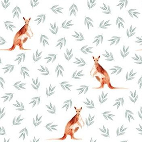 Australian Kangaroos and Leaves