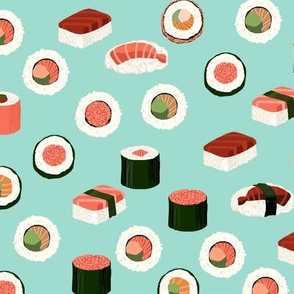 sushi fabric - sushi, sashimi, japan, Japanese food, food, cute, kawaii food, food fabric - mint