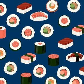 sushi fabric - sushi, sashimi, japan, Japanese food, food, cute, kawaii food, food fabric - navy