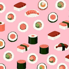 sushi fabric - sushi, sashimi, japan, Japanese food, food, cute, kawaii food, food fabric - pink