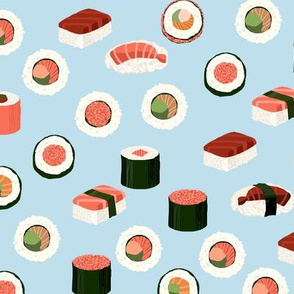sushi fabric - sushi, sashimi, japan, Japanese food, food, cute, kawaii food, food fabric - blue