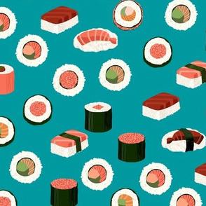 sushi fabric - sushi, sashimi, japan, Japanese food, food, cute, kawaii food, food fabric - teal