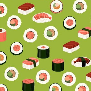 sushi fabric - sushi, sashimi, japan, Japanese food, food, cute, kawaii food, food fabric - lime
