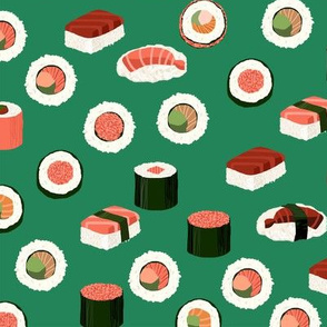 sushi fabric - sushi, sashimi, japan, Japanese food, food, cute, kawaii food, food fabric - green