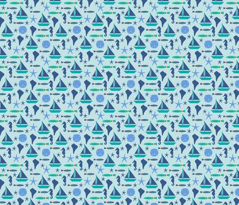Beach Sailing Light Blue Blue Small fabric by phyllisdobbs on Spoonflower - custom fabric