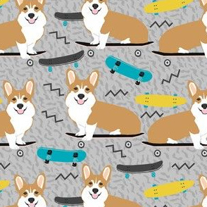 corgi skateboard fabric - skateboard, dog, dogs, skate, kids, adventure, active sport - grey