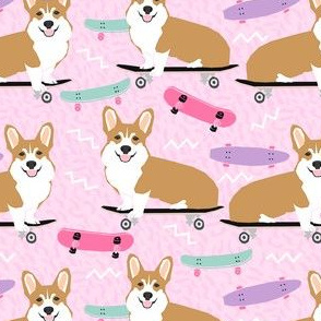 corgi skateboard fabric - skateboard, dog, dogs, skate, kids, adventure, active sport - pink