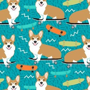 corgi skateboard fabric - skateboard, dog, dogs, skate, kids, adventure, active sport - turquoise