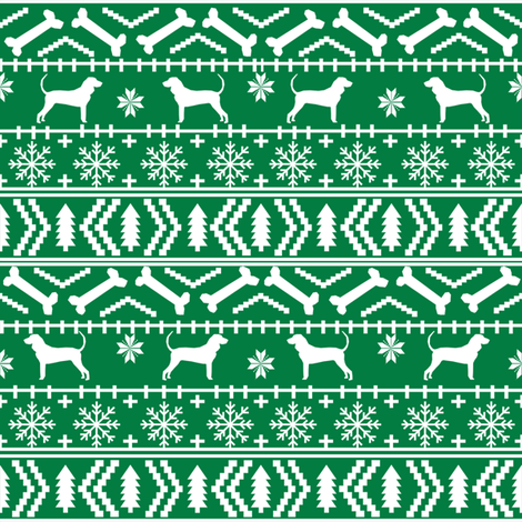 coonhound fair isle fabric - dog, dogs, pet, pets, christmas, holiday, coonhound silhouette, dog silhouette fabric fabric by petfriendly on Spoonflower - custom fabric