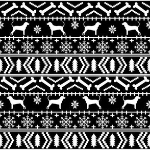 coonhound fair isle fabric - dog, dogs, pet, pets, christmas, holiday, coonhound silhouette, dog silhouette fabric