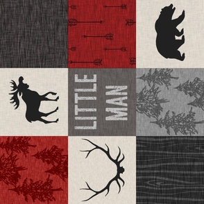 little man quilt - red, cream, grey, and black - ROTATED - woodland animals