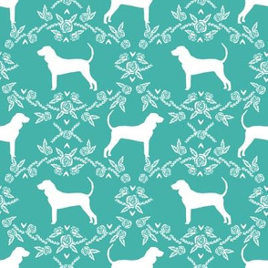 coonhound silhouette floral fabric - dog silhouette fabric, dog, dogs, pet, pet silhouette design