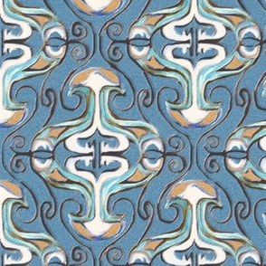 Beige and Blue Damask with Tendrils