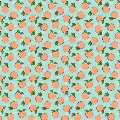 (micro scale) peaches - polka dots on aqua C18BS fabric by littlearrowdesign on Spoonflower - custom fabric