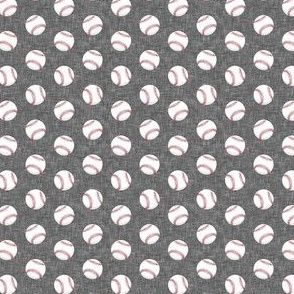 (micro scale) baseballs - grey linen C18BS
