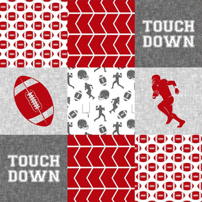 touch down - football wholecloth - grey and scarlet - college ball -  chevron