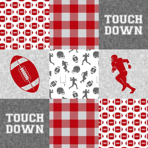 touch down - football wholecloth - grey and scarlet - college ball -  plaid