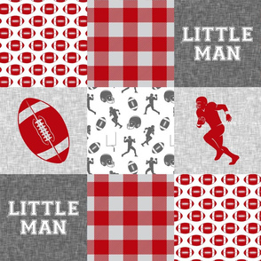 little man - football wholecloth - grey and scarlet - college ball -  plaid