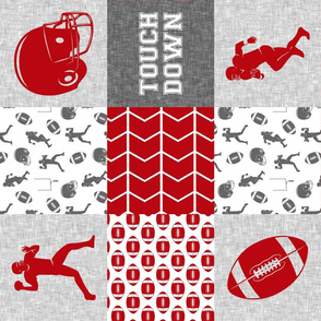 touch down - football wholecloth - grey and scarlet - college ball -  chevron (90)