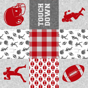 touch down - football wholecloth - grey and scarlet - college ball -  plaid  (90)