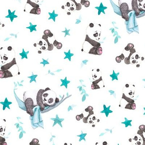 Baby Panda Bears on Grey
