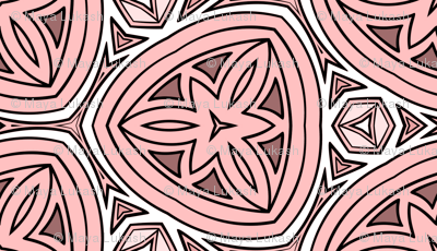 Stylized pink flowers in triangles