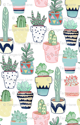 Cute Cacti In Pots Small Scale Giftwrap Tangerine Tane Spoonflower