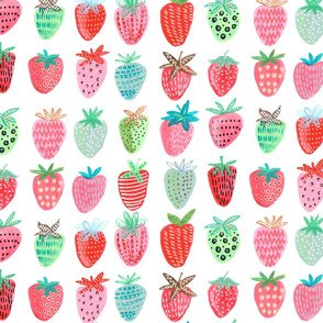 Strawberry  Big // pink & green fruit girls room nursery decor little girls fabric
