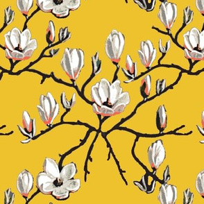 yellow floral, Magnolia, sunny yellow