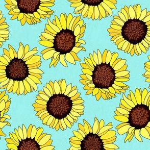 Sunflower are the New Roses! on Aqua - Small