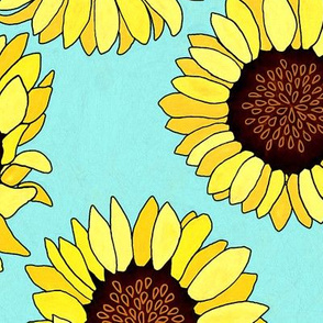 Sunflower are the New Roses! on Aqua - Big