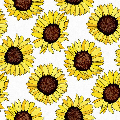 Sunflower are the New Roses! on White - Small fabric by tigatiga on Spoonflower - custom fabric