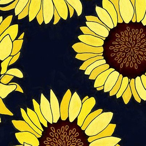 Sunflower are the New Roses! on Navy - Big