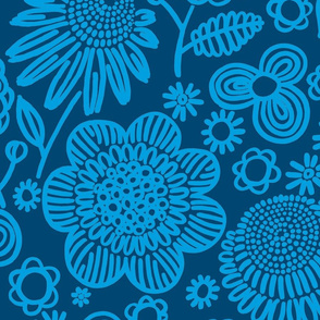60s floral (blue on navy)