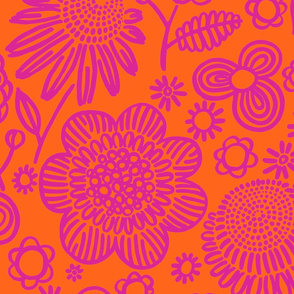 60s floral (shocking on orange)
