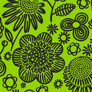 60s floral (black on lime)