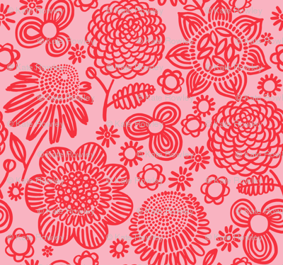 60s floral (red on pink)