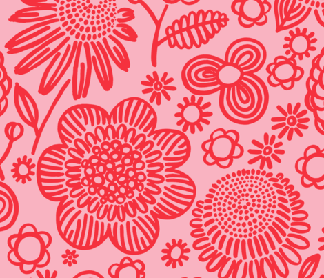 60s floral (red on pink) fabric by kate_rowley on Spoonflower - custom fabric