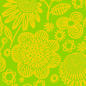 60s floral (yellow on lime)