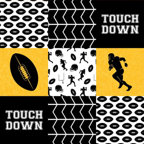 touch down - football wholecloth - black and gold - college ball -  chevron