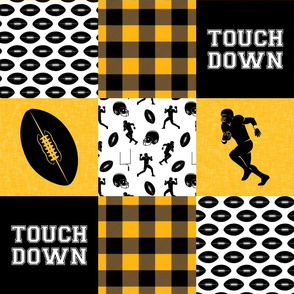 touch down - football wholecloth - black and gold - college ball -  plaid