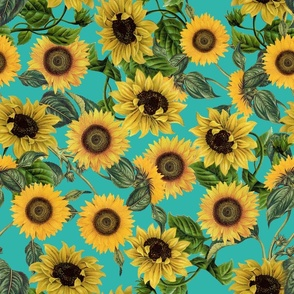"18"" Vintage Sunflowers on Teal  sunflower fabric, sunflowers fabric"