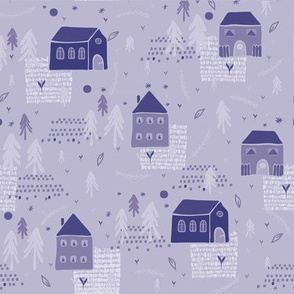 Christmas Village Church House Vector Pattern