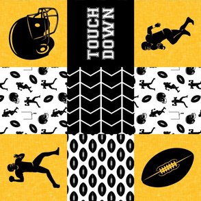 touch down - football wholecloth - black and gold - college ball -  chevron  (90)