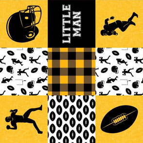 little man - football wholecloth - black and gold - college ball -  plaid (90)