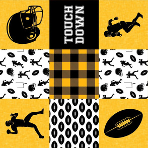 touch down - football wholecloth - black and gold - college ball -  plaid (90)