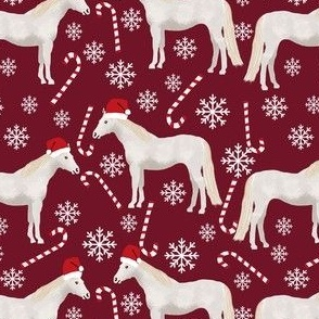 grey horse christmas candycane peppermint fabric ruby