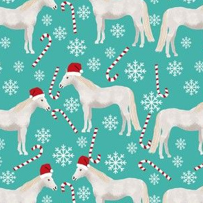grey horse christmas candycane peppermint fabric blue