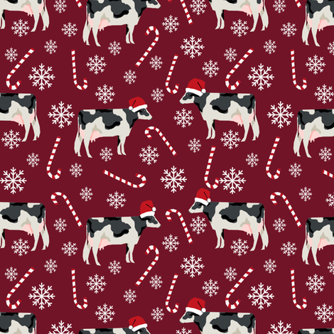 holstein cattle christmas candycane peppermint fabric ruby fabric by petfriendly on Spoonflower - custom fabric