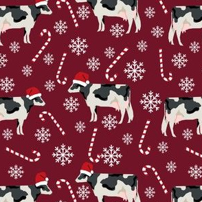 holstein cattle christmas candycane peppermint fabric ruby